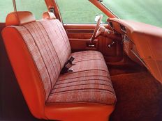 The 1979 Chevrolet Impala Station Wagon with a front bench seat. The 2013 Impala is the North American last passenger car in the industry to offer a front bench seat.